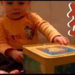 赤ちゃんおもしろ。突然のサプライズで号泣!猿が飛び出すびっくり箱から猿が出てきて号泣する赤ちゃんの面白い動画